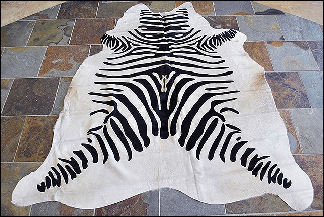 Hilason stencil zebra print hair on leather pure for Cowhide rug houston