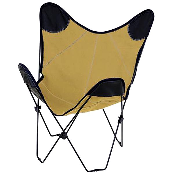 hilason tan canvas butterfly folding lounge chair black metal tube frame ebay. Black Bedroom Furniture Sets. Home Design Ideas